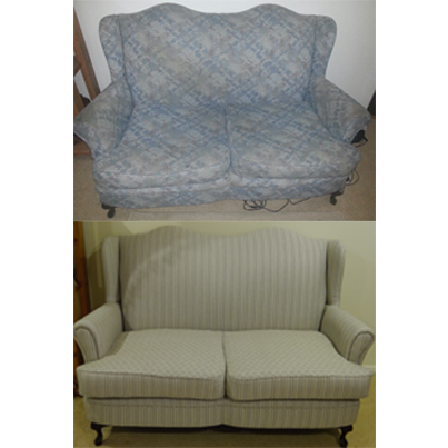 reupholstery using a wortley fabric, classic wing chair style 2 seater